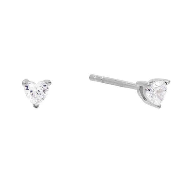 Silver CZ Heart Stud Earring - Adina's Jewels