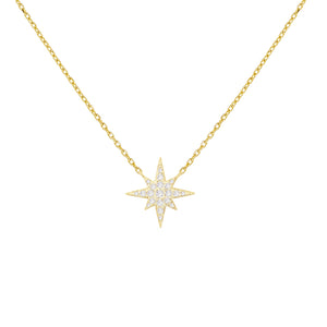 Gold Pavé Starburst Necklace - Adina's Jewels