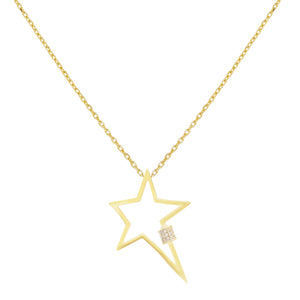CZ Large Open Star Necklace Gold - Adina's Jewels