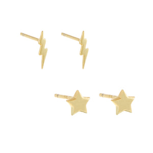 Tiny Star X Lightning Stud Earring Combo Set Gold - Adina's Jewels