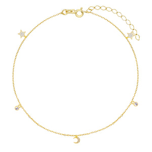 Gold CZ Celestial Charms Anklet - Adina's Jewels