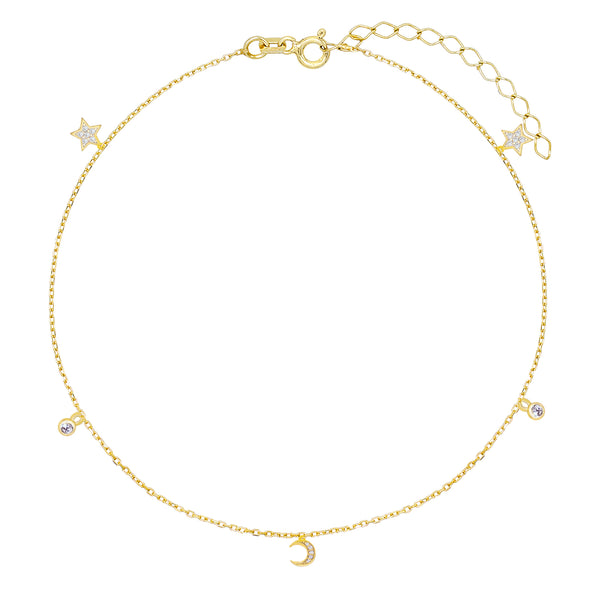 CZ Celestial Charms Anklet Gold - Adina's Jewels