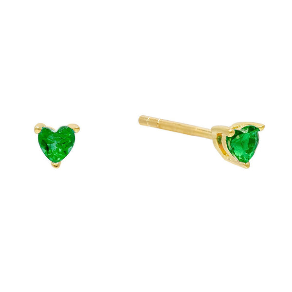 Emerald Green CZ Heart Stud Earring - Adina's Jewels