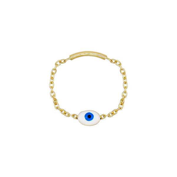 Sapphire Blue / 3 Enamel Eye Ring 14K - Adina's Jewels