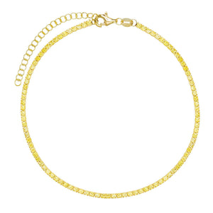Pastel Tennis Anklet Topaz Yellow - Adina's Jewels