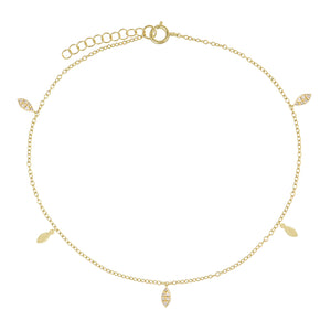 Pavé/Solid Teardrop Anklet Gold - Adina's Jewels