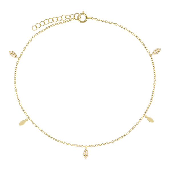 Gold Pavé/Solid Teardrop Anklet - Adina's Jewels