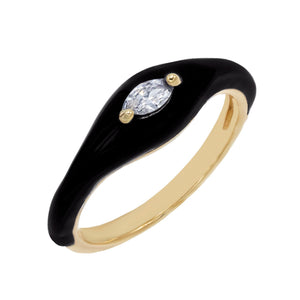 Onyx / 7 Enamel Stone Ring - Adina's Jewels