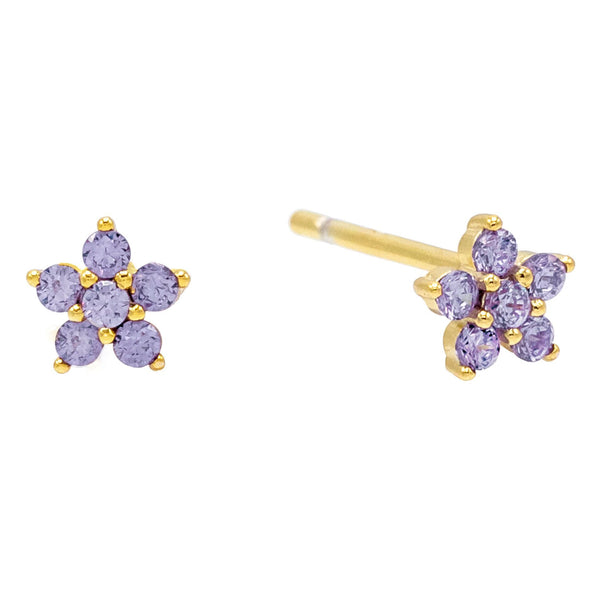 Amethyst Purple Mini Flower Stud Earring - Adina's Jewels