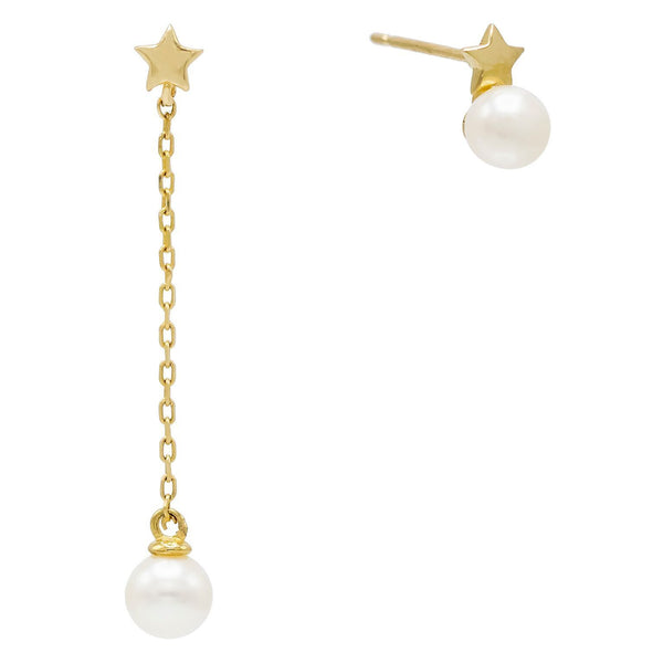 14K Gold Pearl Star Stud Earring 14K - Adina's Jewels