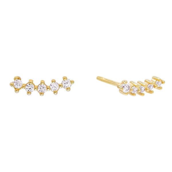 Gold Curve Stone Stud Earring - Adina's Jewels