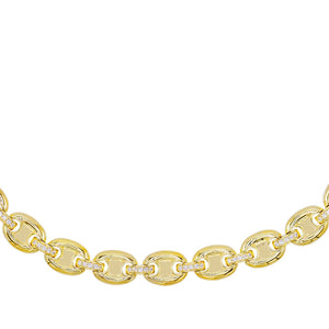 Puffed Mariner Link Choker Gold - Adina's Jewels