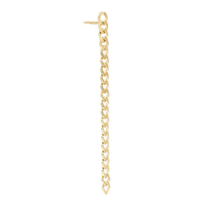 Baby Cuban Chain Drop Stud Earring 14K 14K Gold / Single - Adina's Jewels