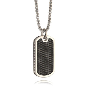 Men's Illusion Dog Tag Necklace Silver - Adina's Jewels