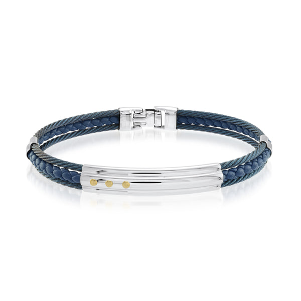 Sapphire Blue Steel & Leather Bracelet - Adina's Jewels