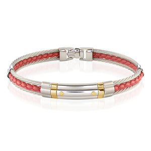 Steel & Leather Bracelet Ruby Red - Adina's Jewels