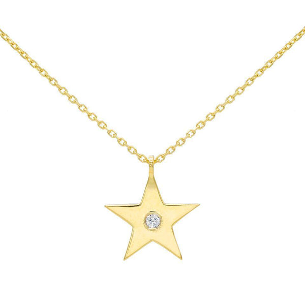 Diamond Star Necklace 14K