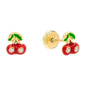 Ruby Red Mini Red Cherry Stud Earring 14K - Adina's Jewels