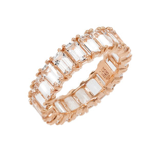 White Topaz Eternity Band 14K 14K Rose Gold / 6.5 - Adina's Jewels