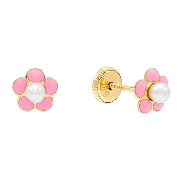 Light Pink Pink Flower Stud Earring 14K - Adina's Jewels