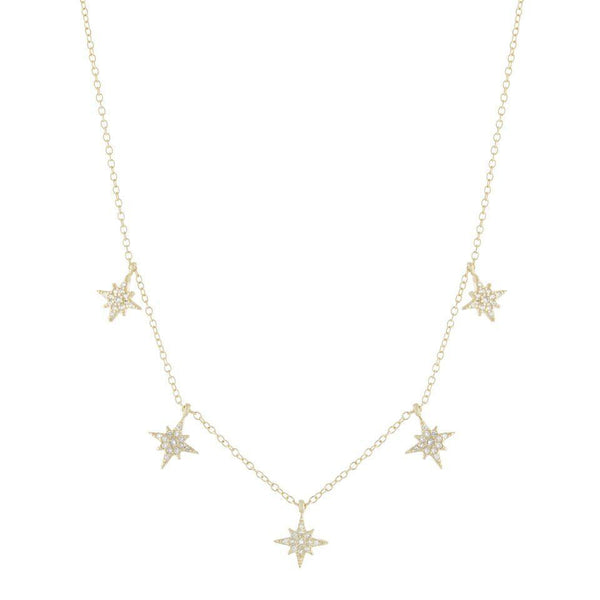 Gold Dangling Pave Starburst Necklace - Adina's Jewels