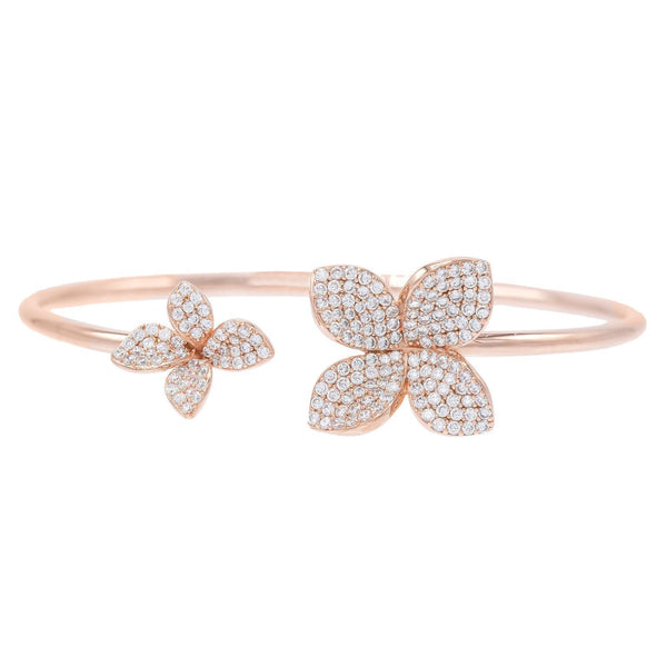 Rose Gold Pave Flower Bangle - Adina's Jewels