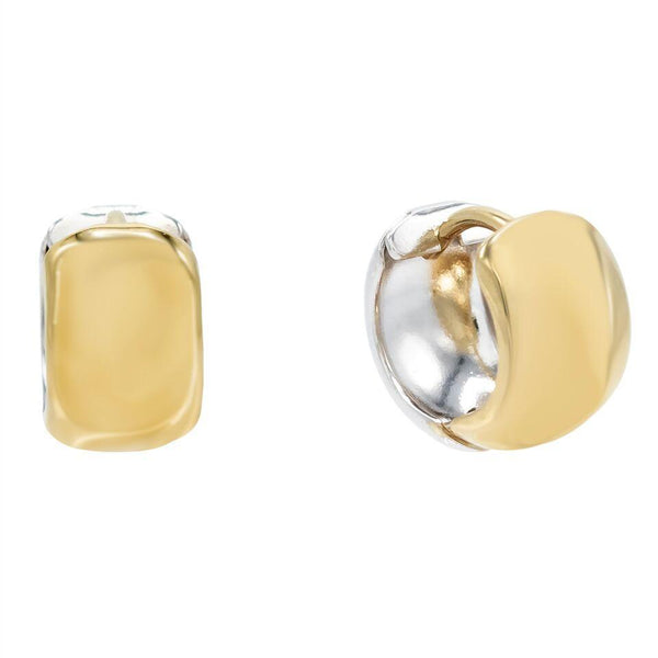 14K Gold Two-Tone Wide Huggie Earring 14K - Adina's Jewels