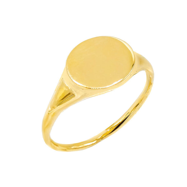 14K Gold / 3 Engraved Pinky Signet Ring 14K - Adina's Jewels