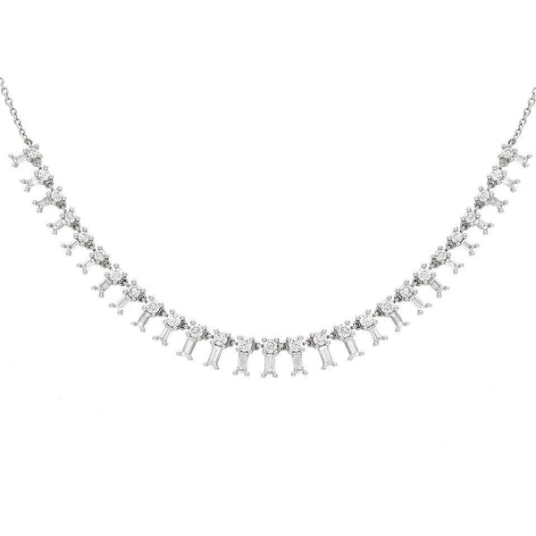 14K White Gold Dangling Baguettes Choker/Necklace 14K - Adina's Jewels