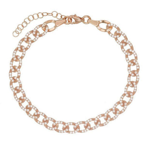 Rose Gold Pavé Cuban Bracelet - Adina's Jewels