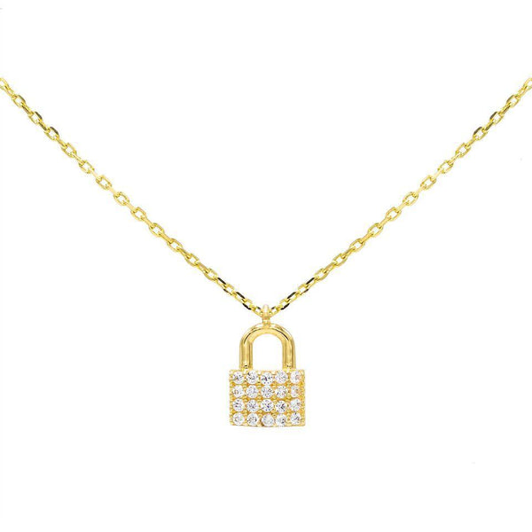 14K Gold Mini Lock Necklace 14K - Adina's Jewels