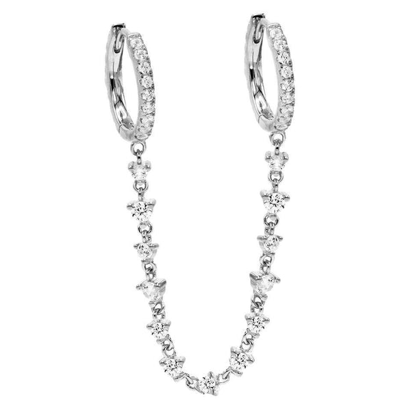 CZ Chain Double Huggie Earring - Adina's Jewels