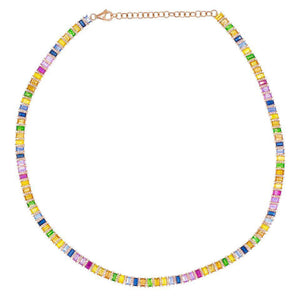 Multi-Color Diamond Baguette Choker 14K - Adina's Jewels