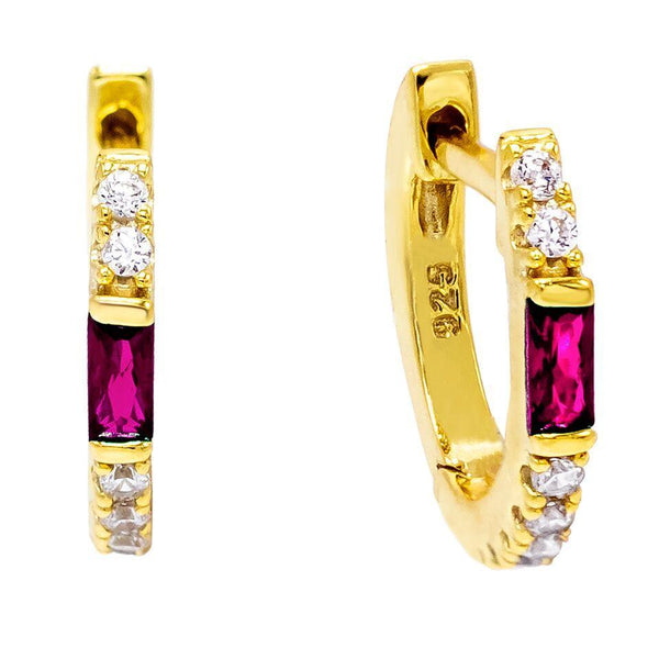 Magenta Colored Baguette Huggie Earring - Adina's Jewels
