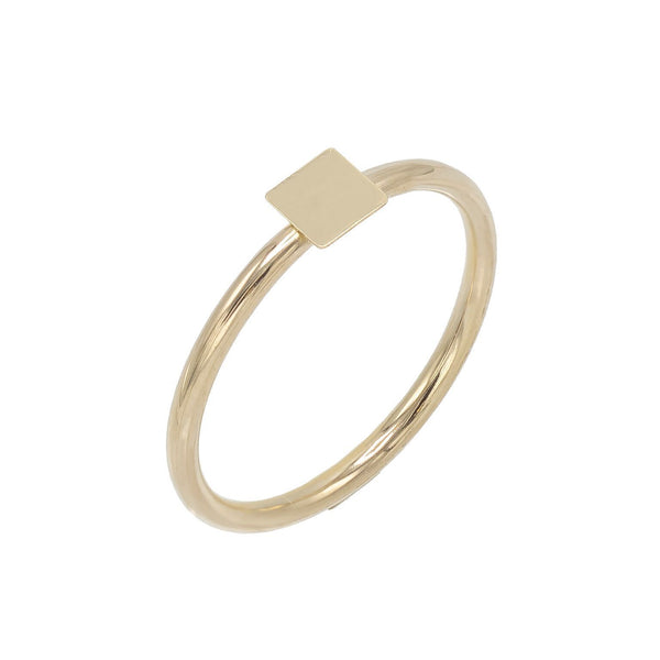 14K Gold / 8 Engraved Mini Square Ring 14K - Adina's Jewels