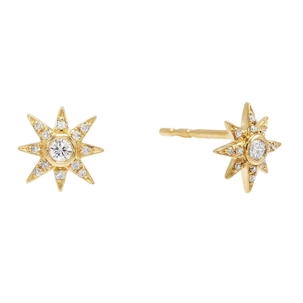 14K Gold Diamond Starburst Stud Earring 14K - Adina's Jewels