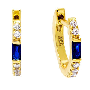 Sapphire Blue Colored Baguette Huggie Earring - Adina's Jewels