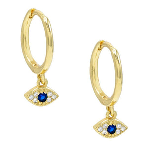 Mini Evil Eye Huggie Earring Sapphire Blue - Adina's Jewels
