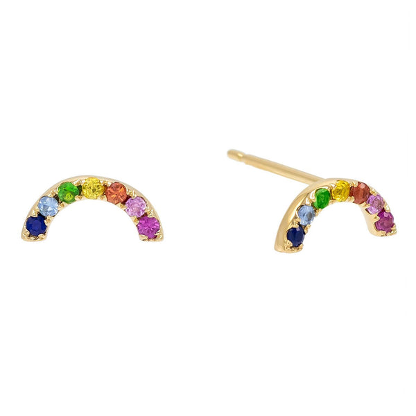 Multi-Color Rainbow Stud Earring 14K - Adina's Jewels
