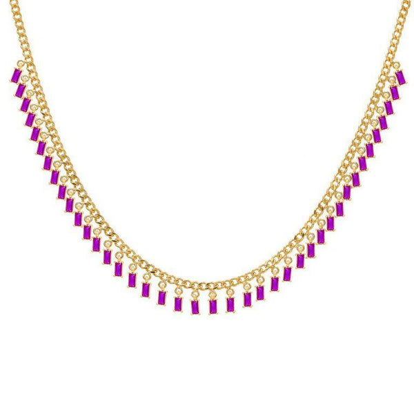 Pink and Gold Dangling Baguette Choker - Adina's Jewels
