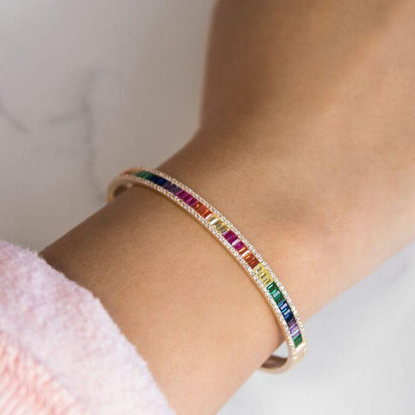 Baguette X Round Bangle - Adina's Jewels