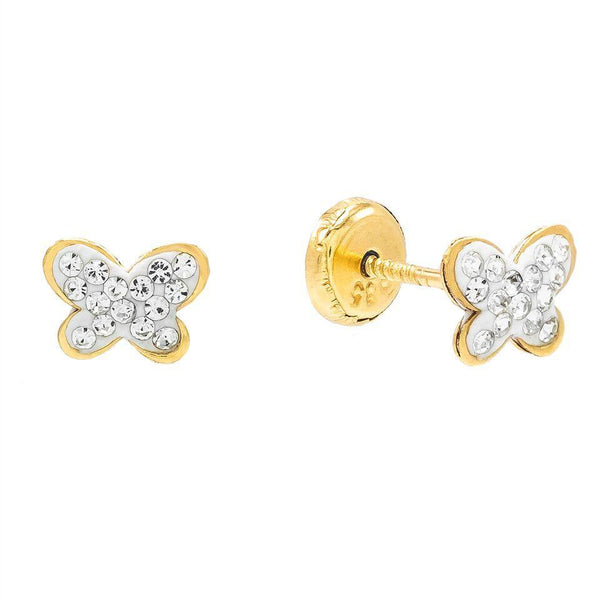 14K Gold Crystal Butterfly Stud Earring 14K - Adina's Jewels