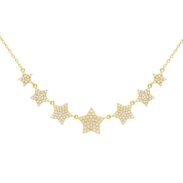Pavé Multi Star Necklace Gold - Adina's Jewels