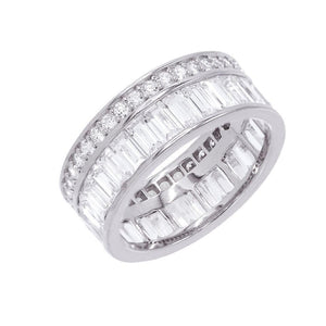 Silver / 7 Baguette X Round Ring - Adina's Jewels
