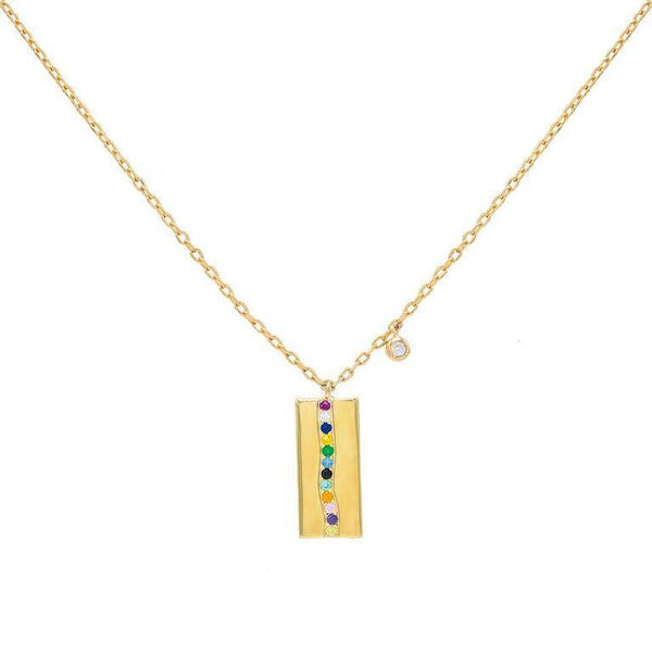 Multi-Color Mini Pavé Dog Tag Necklace - Adina's Jewels