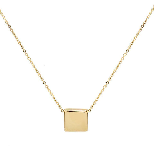 Engraved Square Pendant Necklace 14K