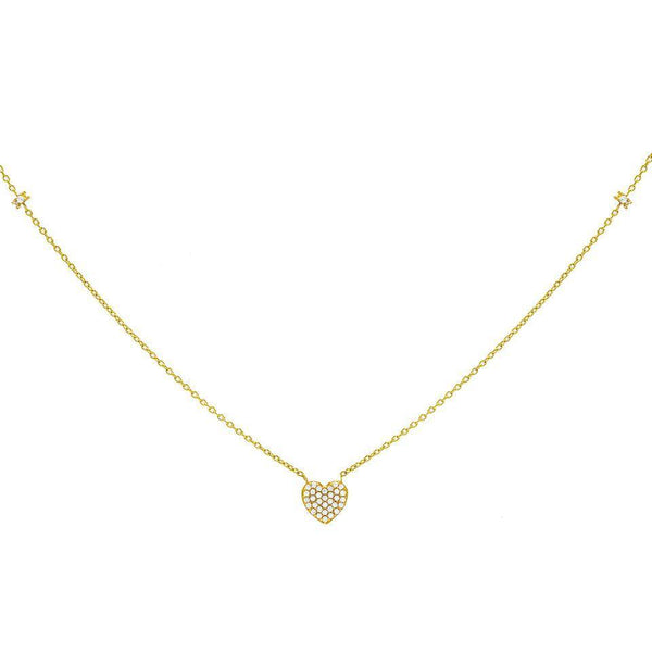 14K Gold CZ Pavé Heart Necklace 14K - Adina's Jewels