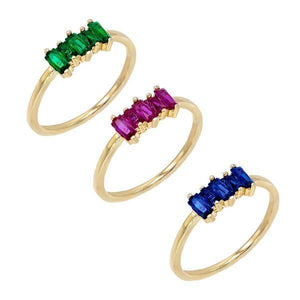 Combo / 8 Multi-Color Baguette Ring Set - Adina's Jewels
