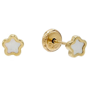 14K Gold Mother of Pearl Mini Flower Stud Earring 14K - Adina's Jewels