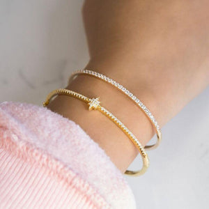 Pavé Thin Bangle - Adina's Jewels